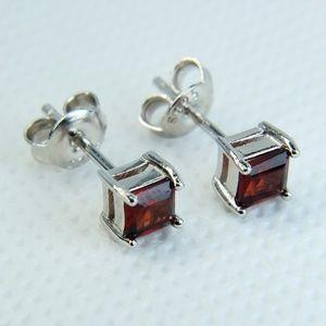 Jewelry - Sterling Silver Genuine Garnet Stud Earrings